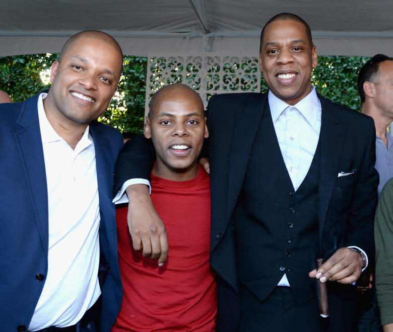 BEVERLY HILLS, CA - JANUARY 25: (Exclusive Coverage) (L-R) Roc Nation's Jay Brown, Tyran 'Tata' Smith and rapper/producer Jay-Z attend the Roc Nation Pre-GRAMMY Brunch Presented by MAC Viva Glam at Private Residence on January 25, 2014 in Beverly Hills, California. (Photo by Larry Busacca/Getty Images)