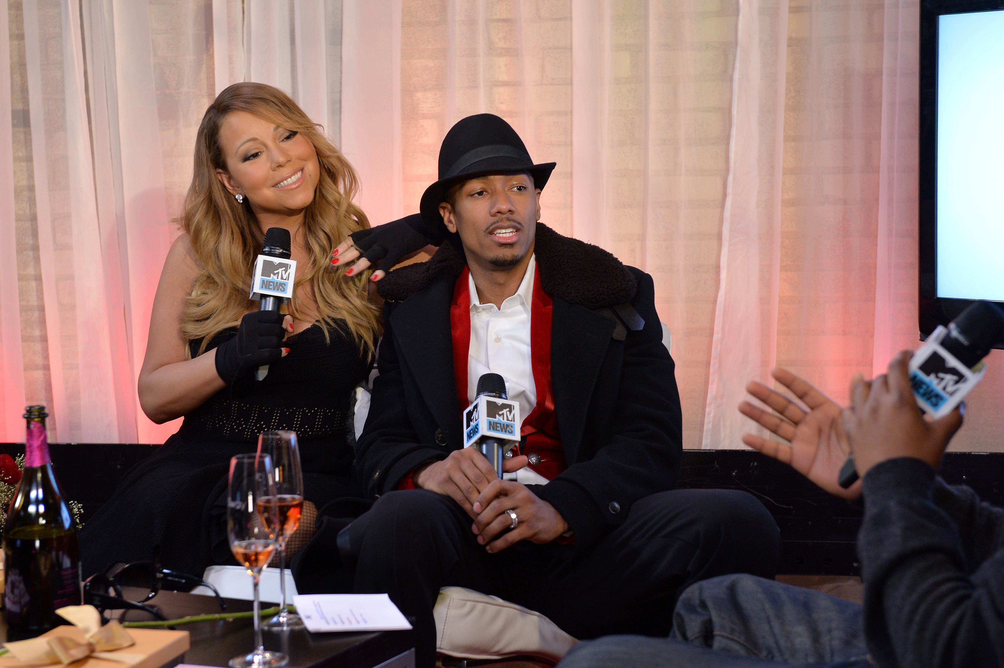 Mariah Carey and Nick Cannon at MTV Studios on February 12, 2014. (Photo by Larry Busacca/Getty Images)
