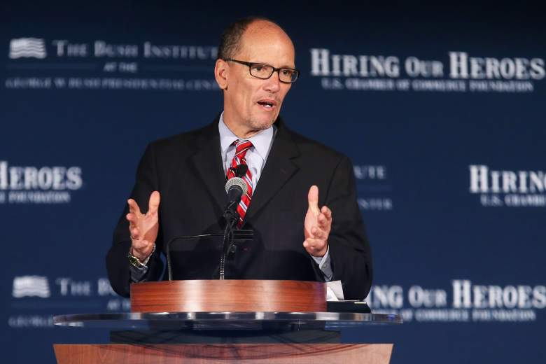 "Thomas Perez addresses a summit on ""creating employment opportunities for post-9/11 veterans and military families"" at the U.S. Chamber of Commerce June 24, 2015 in Washington, DC. (Getty)"