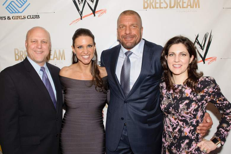 From left to right, New Orleans Mayor Mitch Landrieu, WWE's Stephanie McMahon, Paul Levesque aka Triple H, and Rita Benson LeBlanc, Vice Chairman of the Board of the New Orleans Saint, pose at an event in 2014. (Getty)