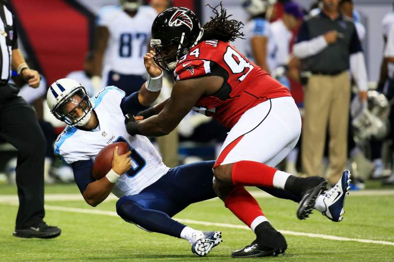 Marcus Mariota of the Tennessee Titans is sacked by Tyson Jackson of the Atlanta Falcons in the first half of a preseason game at the Georgia Dome on August 14, 2015 in Atlanta, Georgia.. (Getty)