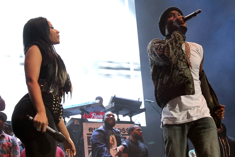 Nicki Minaj and Meek Mill perform during 105.1's Powerhouse on October 22, 2015 in Brooklyn, NY. (Photo by Bennett Raglin/Getty)