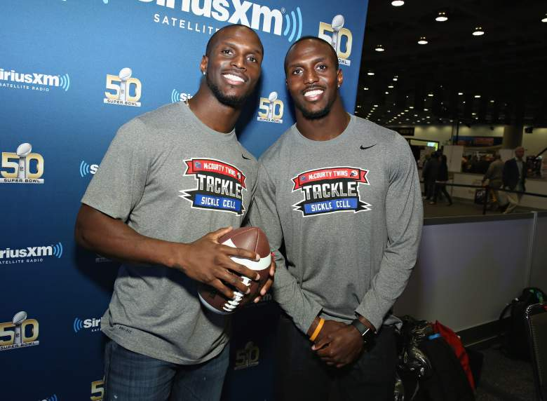 SAN FRANCISCO, CA - FEBRUARY 04: Jason McCourty of the Tennessee Titans and Devin McCourty of the New England Patriots visit the SiriusXM set at Super Bowl 50 Radio Row at the Moscone Center on February 4, 2016 in San Francisco, California.(Photo by Cindy Ord/Getty Images for SiriusXM)