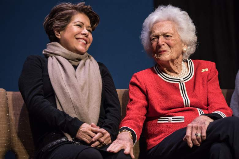 GREENVILLE, SC - FEBRUARY 19: Jeb Bush's wife Columba Bush, left, and former first lady Mrs. Barbara Bush share a moment during a campaign event with Republican presidential candidate Jeb Bush February 19, 2016 in Greenville, South Carolina. The South Carolina Republican primary will be held Saturday, February 20. (Photo by Sean Rayford/Getty Images)