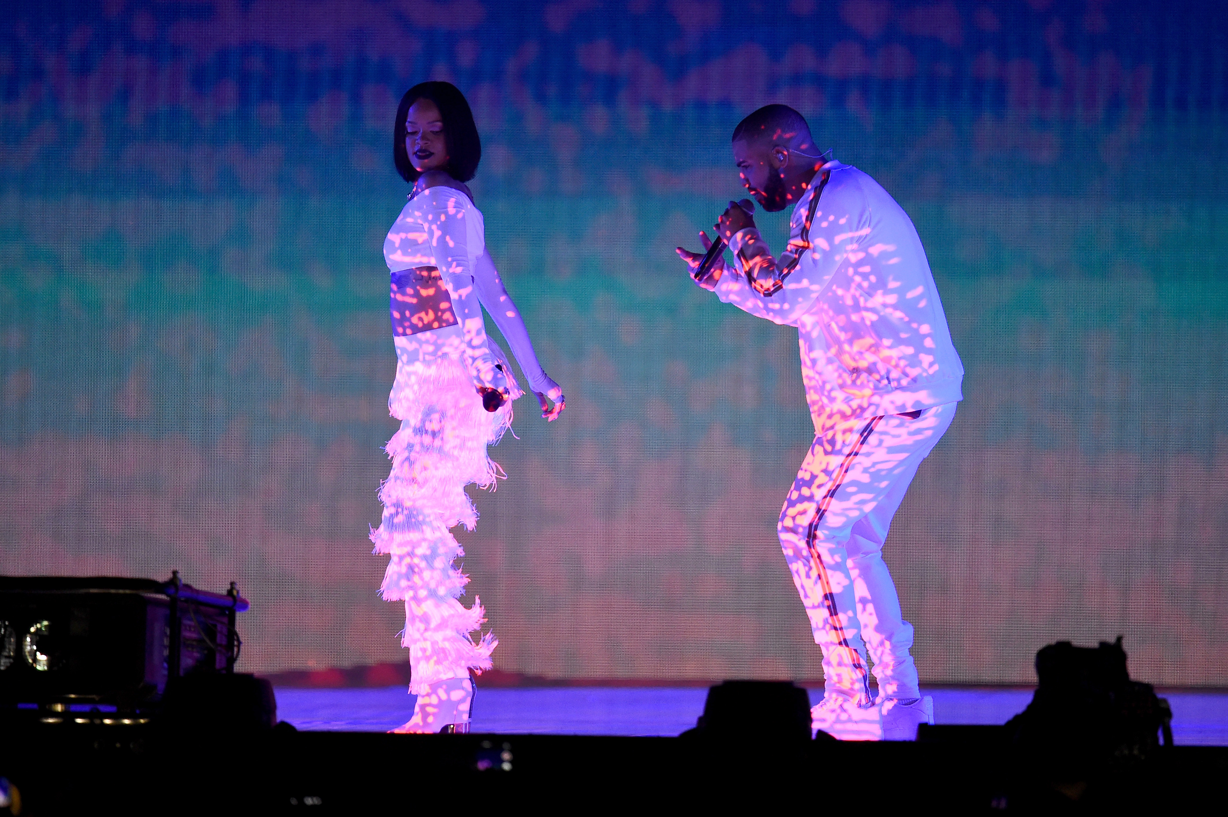 Rihanna and Drake perform at the BRIT Awards on February 24, 2016 in London, England. (Photo by Ian Gavan/Getty Images)