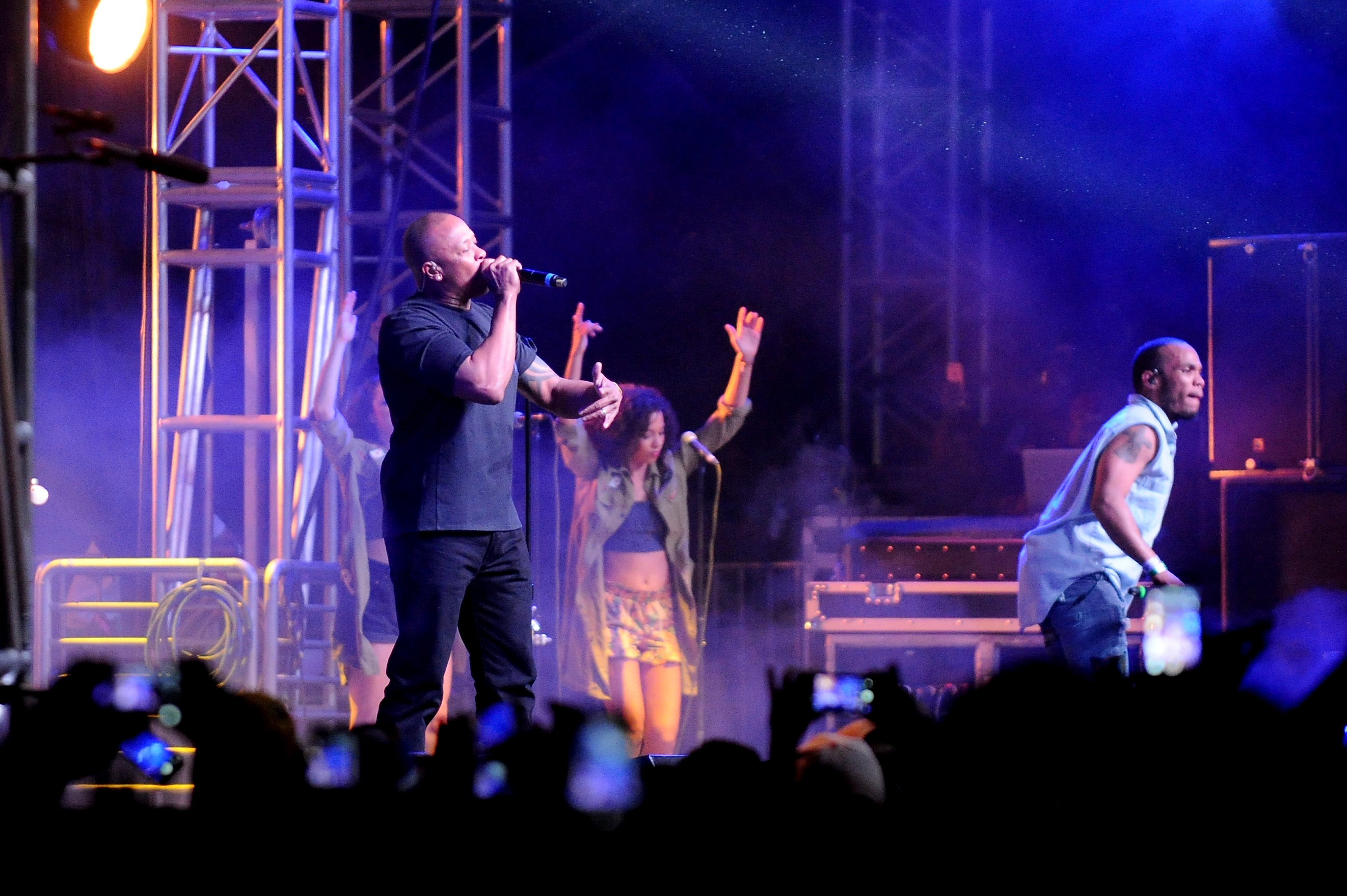 Dr. Dre and Anderson .Paak perform during the Coachella Valley Music & Arts Festival on April 24, 2016 in Indio, California. (Photo by Dave Mangels/Getty)