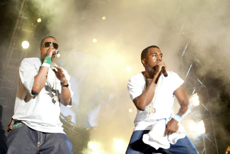 EAST RUTHERFORD, NJ - JUNE 5: Def Jam president/rapper Jay-Z (L) and Kanye West perform at the Hot 97 Summer Jam 2005 Concert June 5, 2005 at Giant Stadium in East Rutherford, New Jersey. (Photo by Matthew Peyton/Getty Images)