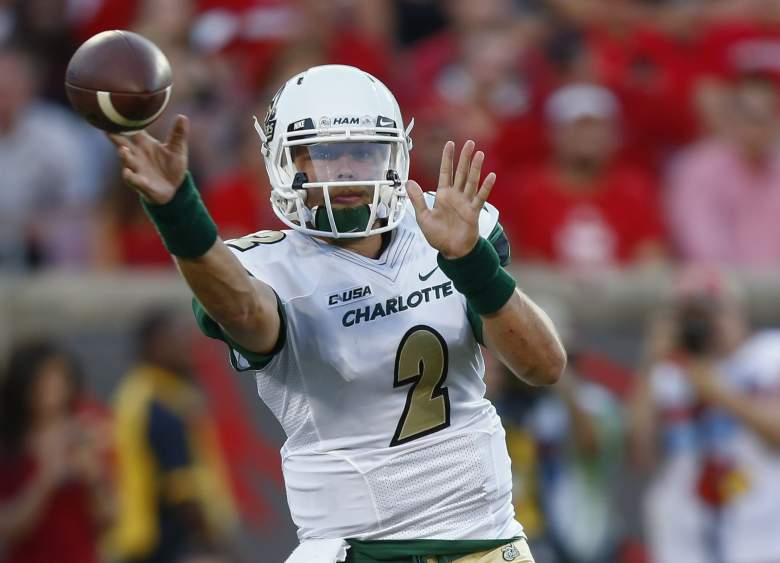 Kevin Olsen of the Charlotte 49ers passes the ball during a game against the Louisville Cardinals during the 2016 season. (Getty)