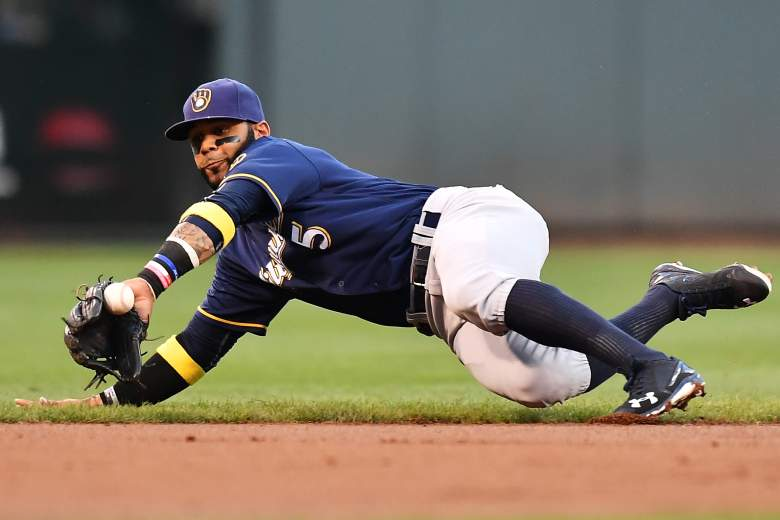 Jonathan Villar of the Milwaukee Brewers dives to stop a ground ball during a game in 2016. (Getty)
