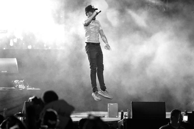 LOS ANGELES, CA - NOVEMBER 12: (EDITOR NOTE: This image has been converted to black and white.) Chance The Rapper performs on Camp Stage during day one of Tyler, the Creator's 5th Annual Camp Flog Gnaw Carnival at Exposition Park on November 12, 2016 in Los Angeles, California. (Photo by Kevin Winter/Getty Images)