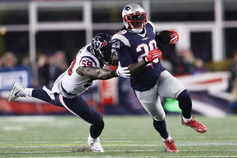 New England Patriots running back LeGarrette Blount runs the ball against the Houston Texans  on January 14. Blount is looking for his second Super Bowl championship February 5. (Getty)