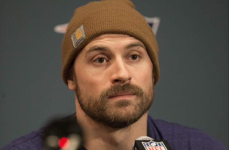 HOUSTON, TX - JANUARY 31:  Chris Long of the New England Patriots answers questions from the media at the J.W. Marriott on January 31, 2017 in Houston, Texas.  (Photo by Bob Levey/Getty Images)