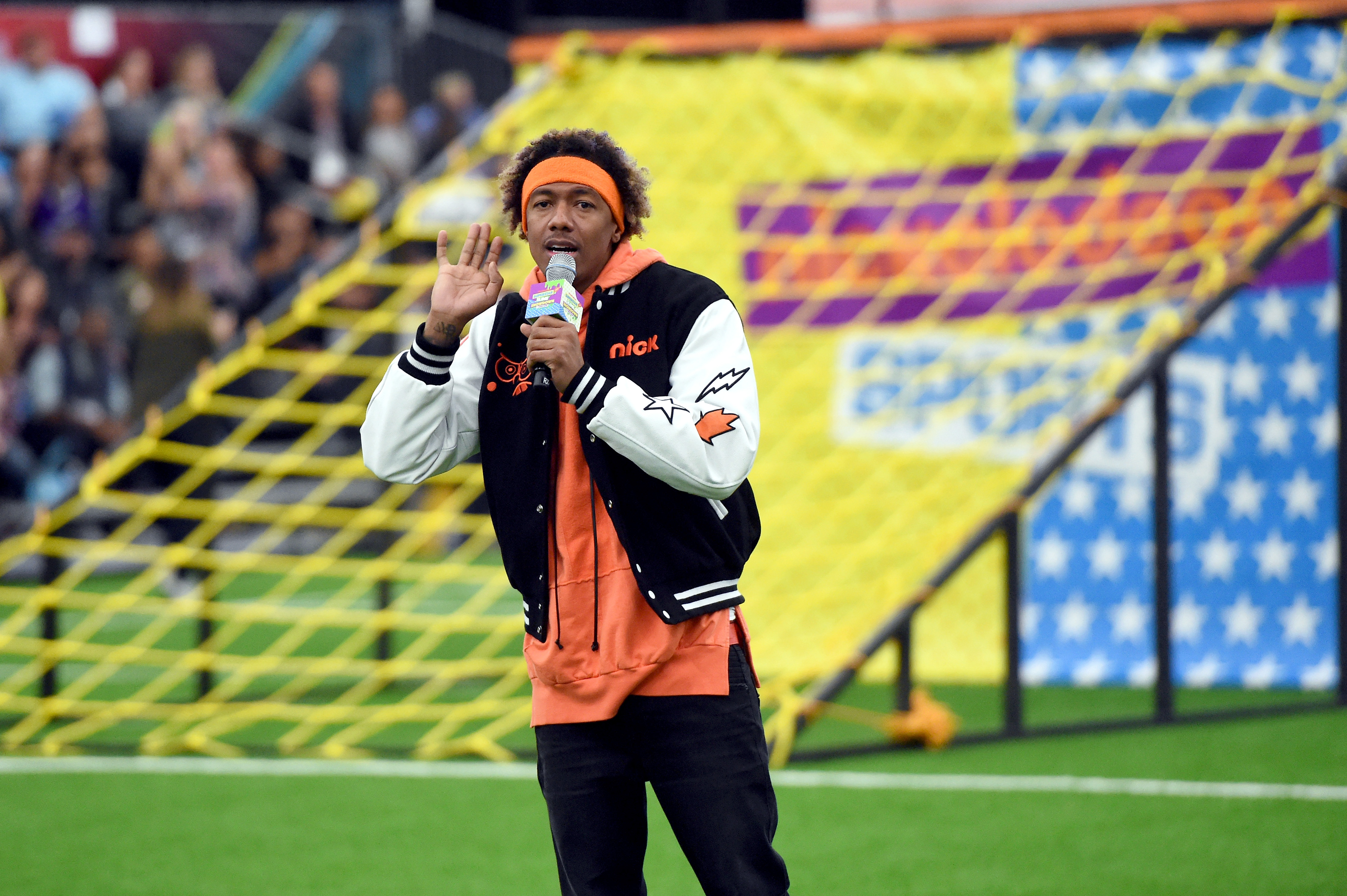 Nick Cannon at Nickelodeon's Superstar Slime Showdown at the Super Bowl. (Photo by Kevin Winter/Getty Images for Nickelodeon )