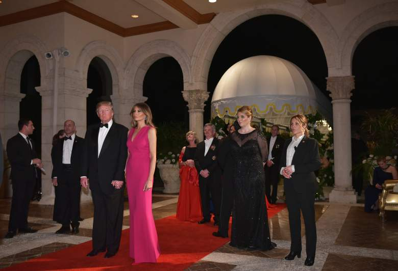 US President Donald Trump and First Lady Melania Trump arrive for the 60th Annual Red Cross Gala at his Mar-a-Lago estate in Palm Beach on February 4, 2017. / AFP / MANDEL NGAN        (Photo credit should read MANDEL NGAN/AFP/Getty Images)