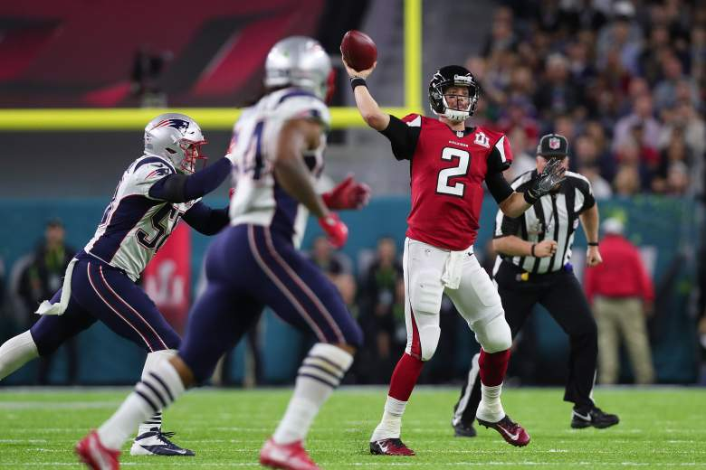 Atlanta Falcons quarterback Matt Ryan looks to pass against the New England Patriots during Super Bowl 51 at NRG Stadium on February 5. (Getty)