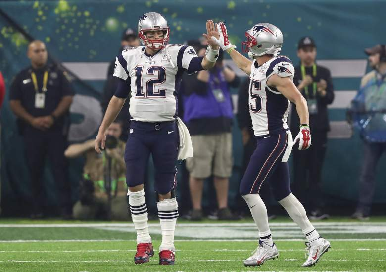 New England Patriots quarterback Tom Brady celebrates in Super Bowl 51. (Getty)