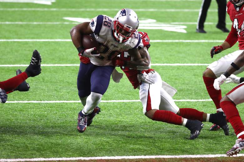 James White of the New England Patriots scores the game winning 2-yard touchdown in overtime against the Atlanta Falcons during Super Bowl 51 on February 5. (Getty)