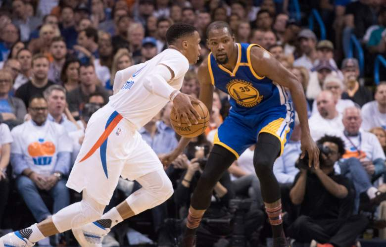 will kevin durant and russell westbrook play together tonight, all star game