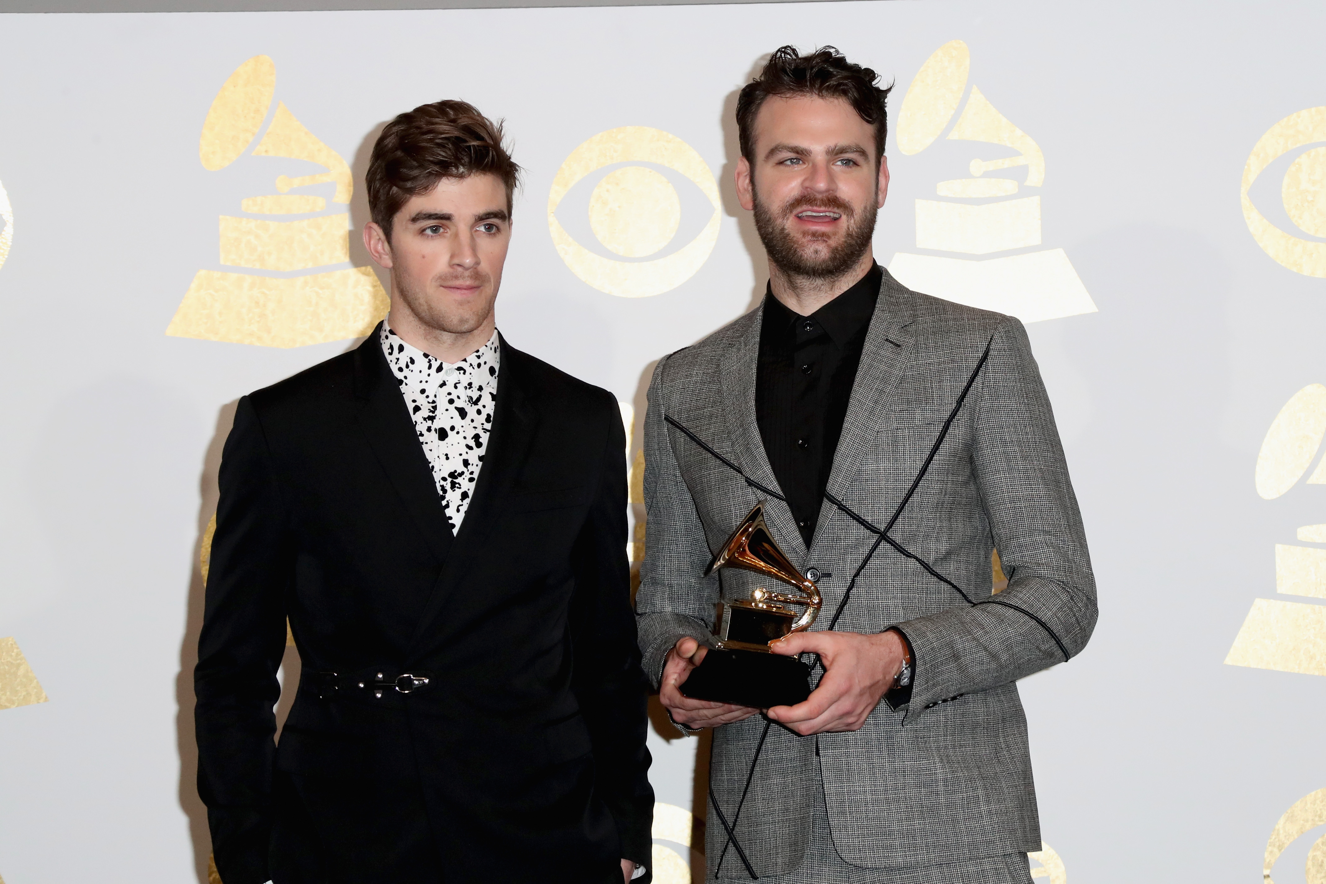Andrew Taggart (L) and Alex Pall of The Chainsmokers pose during The 59th GRAMMY Awards on February 12, 2017 in Los Angeles, California. (Photo by Frederick M. Brown/Getty Images)