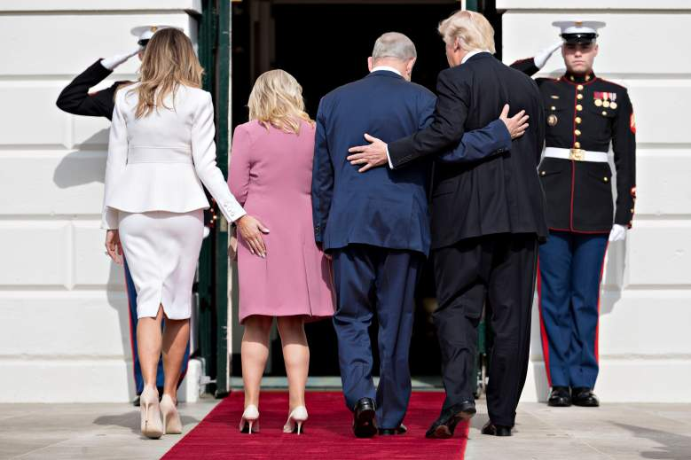 WASHINGTON, D.C. - FEBRUARY 15:  (AFP-OUT) U.S. President Donald Trump (R), Israeli Prime Minister Benjamin Netanyahu (2nd R) and their wives first lady Melania Trump (L) and Sara Netanyahu walk into the White House on February 15, 2017 in Washington, D.C. Netanyahu is trying to recalibrate ties with the new U.S. administration after eight years of high-profile clashes with former President Barack Obama, in part over Israel's policies toward the Palestinians. (Photo by Andrew Harrer-Pool/Getty Images)