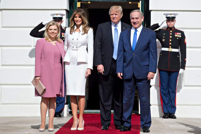 WASHINGTON, D.C. - FEBRUARY 15:  (AFP-OUT) Israeli Prime Minister Benjamin Netanyahu and U.S. President Donald Trump stand with their wives first lady Melania Trump and Sara Netanyahu as they arrive at the South Portico of the White House on February 15, 2017 in Washington, D.C. Netanyahu is trying to recalibrate ties with the new U.S. administration after eight years of high-profile clashes with former President Barack Obama, in part over Israel's policies toward the Palestinians. (Photo by Andrew Harrer-Pool/Getty Images)