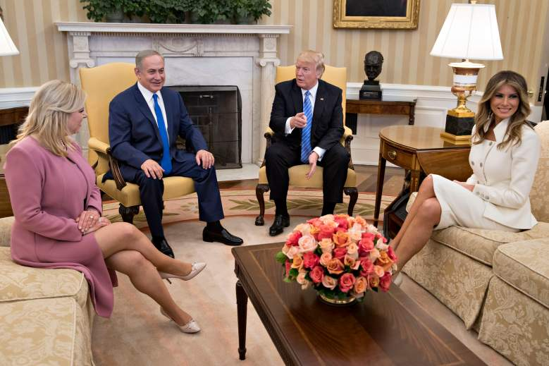 WASHINGTON, D.C. - FEBRUARY 15:  (AFP OUT) U.S. President Donald Trump, Israel Prime Minister Benjamin Netanyahu, his wife Sara Netanyahu (L) and U.S. first lady Melania Trump sit in the Oval Office of the White House on February 15, 2017 in Washington, D.C. Netanyahu is trying to recalibrate ties with the new U.S. administration after eight years of high-profile clashes with former President Barack Obama, in part over Israel's policies toward the Palestinians. (Photo by Andrew Harrer-Pool/Getty Images)