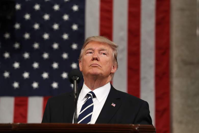 Donald Trump delivers his first address to a joint session of Congress from the floor of the House of Representatives in Washington, DC, USA, 28 February 2017. (Getty)