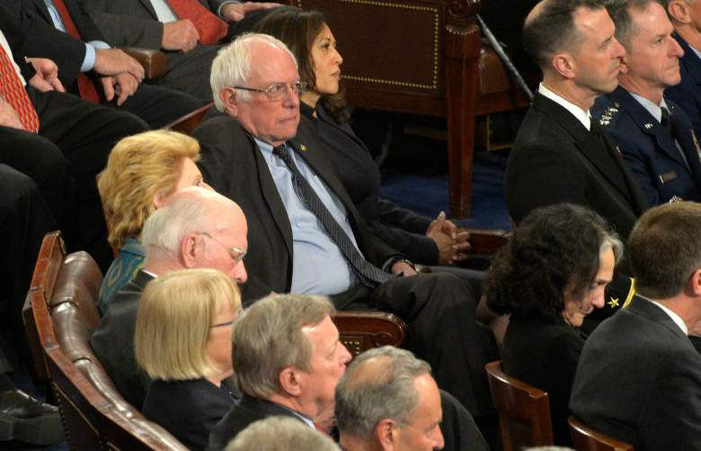 Vermont Sen. Bernie Sanders (C) listens to remarks by U.S. President Donald J. Trump during his address to a joint session of Congress, at the U.S. Capitol, in Washington, DC, February 28, 2017. Trump, in his first address to Congress, laid out his agenda on issues like immigration, the economy, foreign affairs and health care. / AFP / Mike Theiler (Photo credit should read MIKE THEILER/AFP/Getty Images)