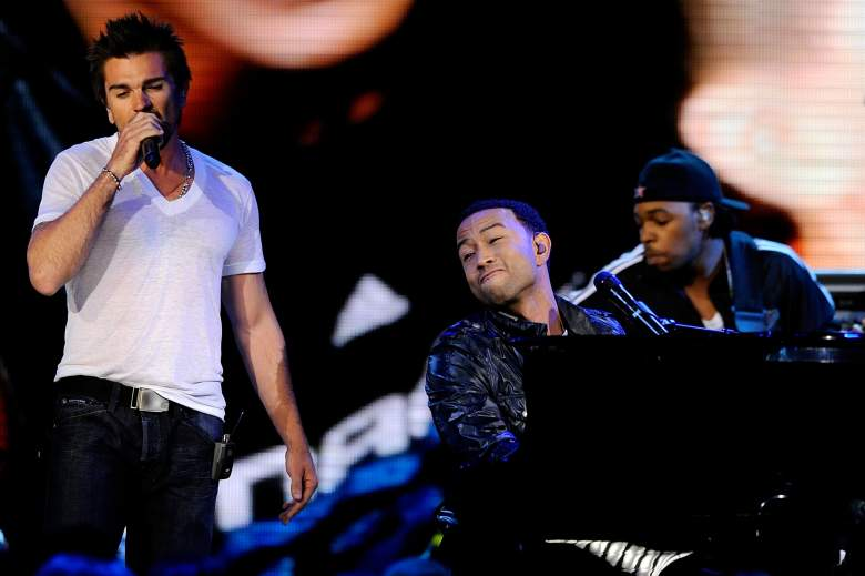 Musicians Juanes and  John Legend perform during half time of the 2009 NBA All-Star Game. (Getty)