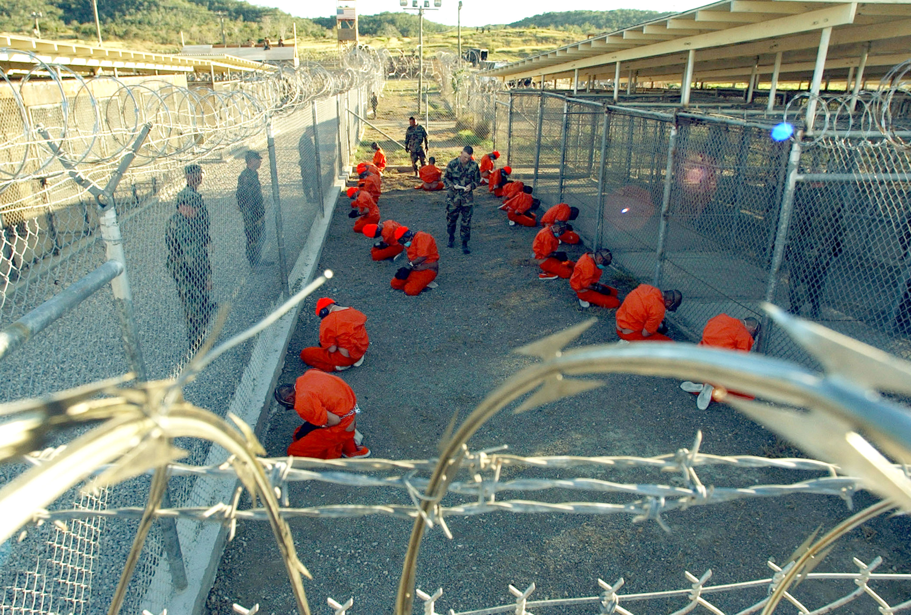 Detainees at Guantanamo in 2002. (Getty)