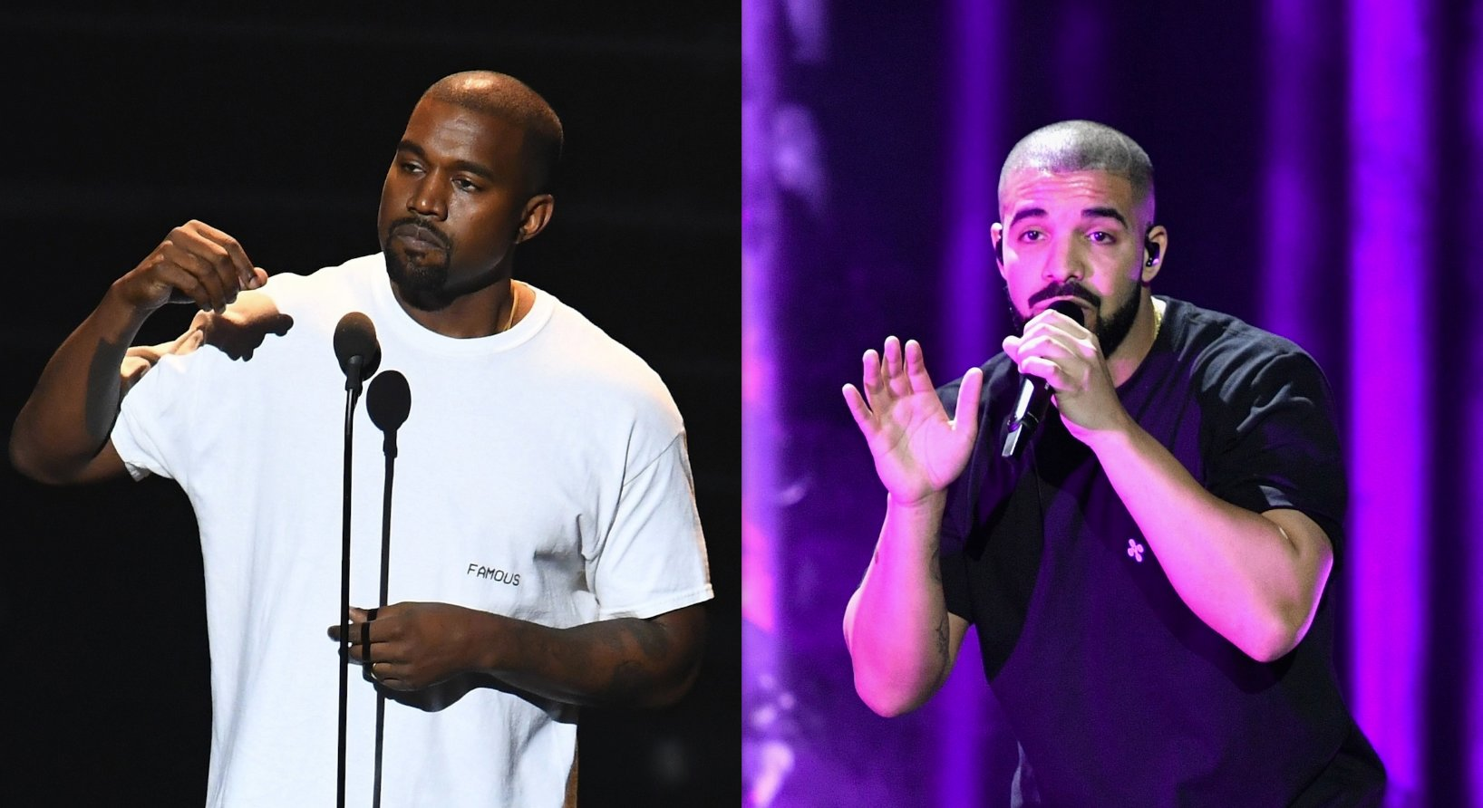Kanye West and Drake. (Photos by Jewel Samad and Mike Windle/Getty Images)