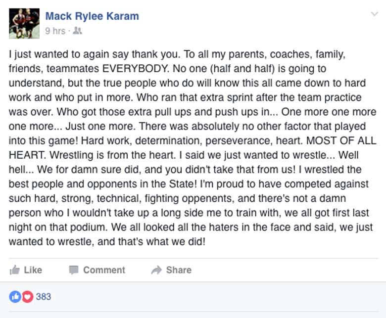 Mack Beggs Facebook page