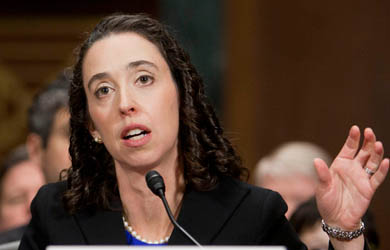 Michelle Friedland testifies before the Senate before being confirmed as a judge on the  Ninth Circuit Court of Appeals. (People for the American Way)