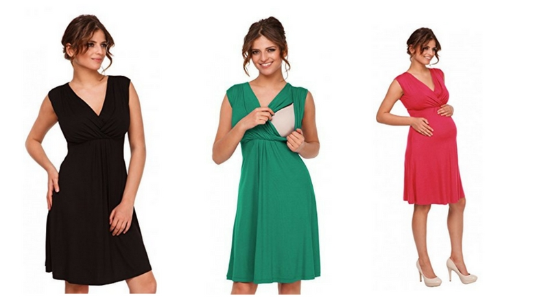 Happy Mama. Womens Maternity Nursing Skater Dress Sleeveless Layered Neck. 808p , maternity nursing dress