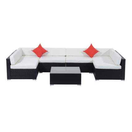 seven piece sectional garden furniture set