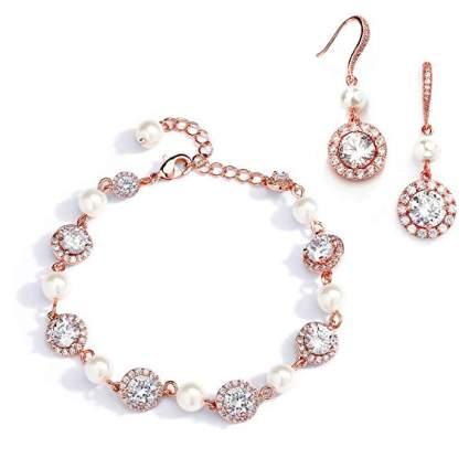 rose gold bridesmaid jewelry set