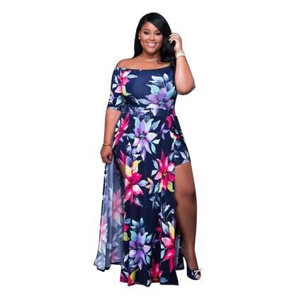 boat neck floral plus size maxi dress