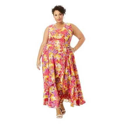 floral georgette plus size maxi dress
