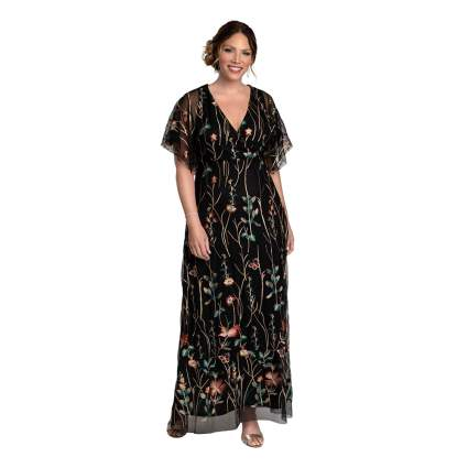 emboidered formal plus size maxi dress