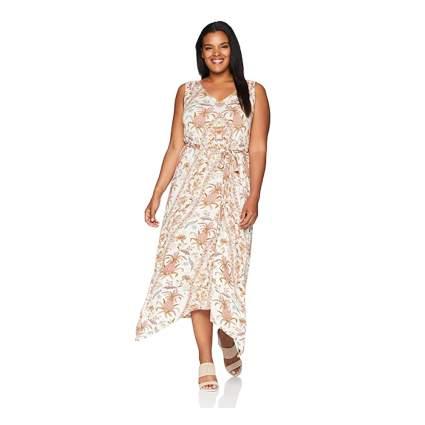 print sleeveless plus size maxi dress