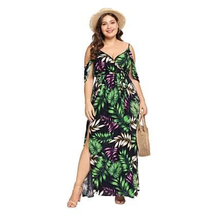 tropical print plus size maxi dress