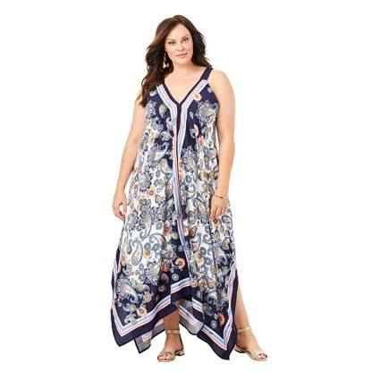 scarf print plus size maxi dress