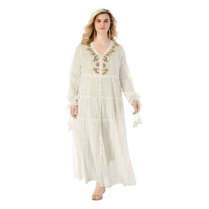 metallic embellished plus size crinkle dress