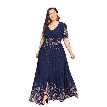 floral border print plus size maxi dress