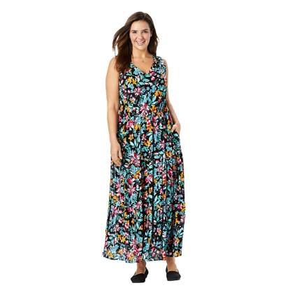 floral print plus size maxi dress