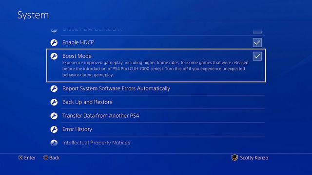 Ps4 Pro, Boost Mode