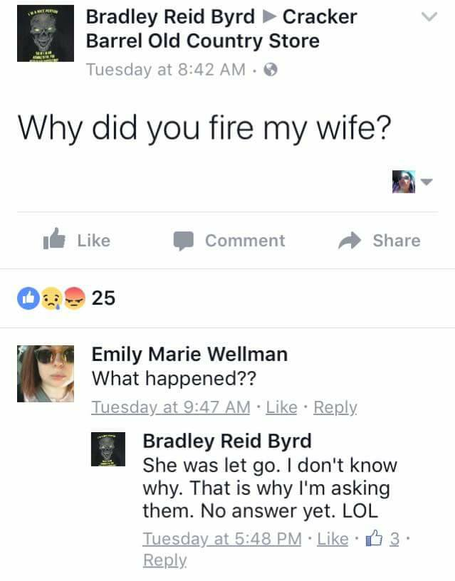 Cracker Barrel, Brad's Wife, JusticeForBradsWife