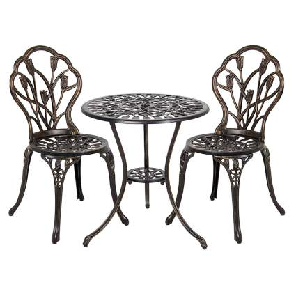 cast aluminum outdoor bistro set