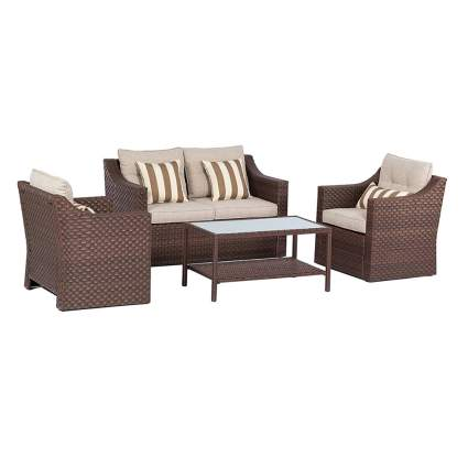 woven wicker patio furniture set