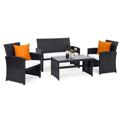 four piece rattan outdoor furniture set